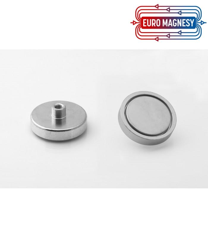 Pot magnet 40x8,5 mm with internal thread M6