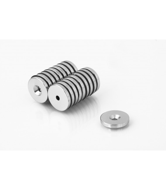 Ring magnet 20x(7,5x3,5)x3 with countersunk borehole N38