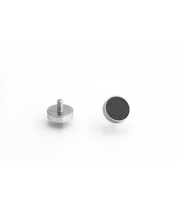 Ferrite pot magnet with threaded stem 16x4,5xM4