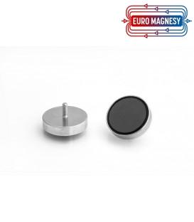 Ferrite pot magnet with threaded stem 32x7xM4