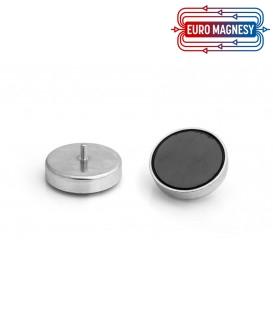 Ferrite pot magnet with threaded stem 63x14xM6
