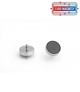 Ferrite pot magnet with threaded stem 25x7xM4
