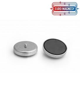 Ferrite pot magnet with threaded stem 57x10,5xM6