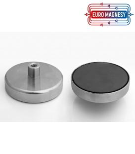 Ferrite pot magnet with internal thread 124x26xM14