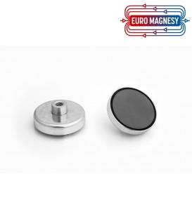 Ferrite pot magnet with internal thread  50x10xM8