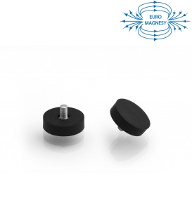 22 mm rubberised pot magnet with threaded stem