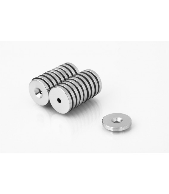 Ring magnet 25x(7,5x4,5)x3 with countersunk borehole N38