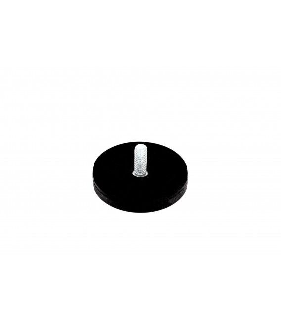 43 mm rubberised pot magnet with threaded stem
