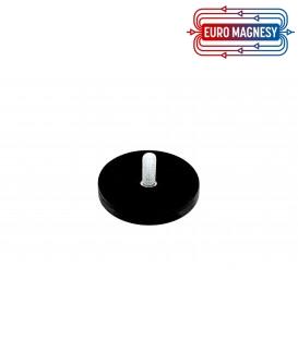 43 mm gummierter topfmagnet mit gewindezapfen