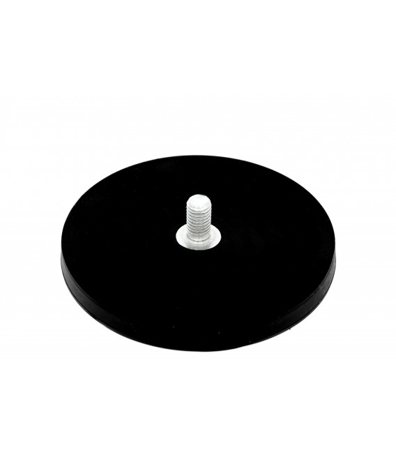 88 mm rubberised pot magnet with threaded stem