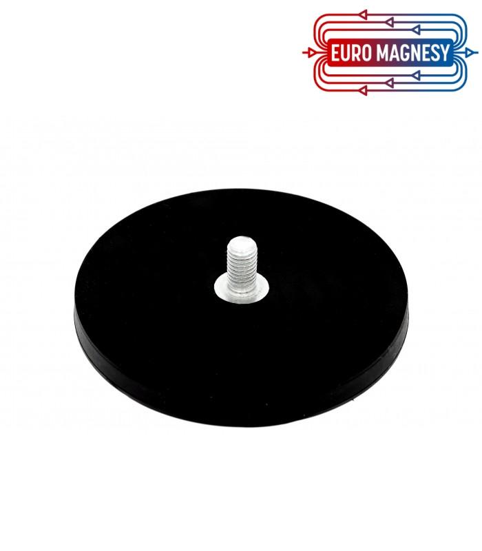 88 mm gummierter topfmagnet mit gewindezapfen