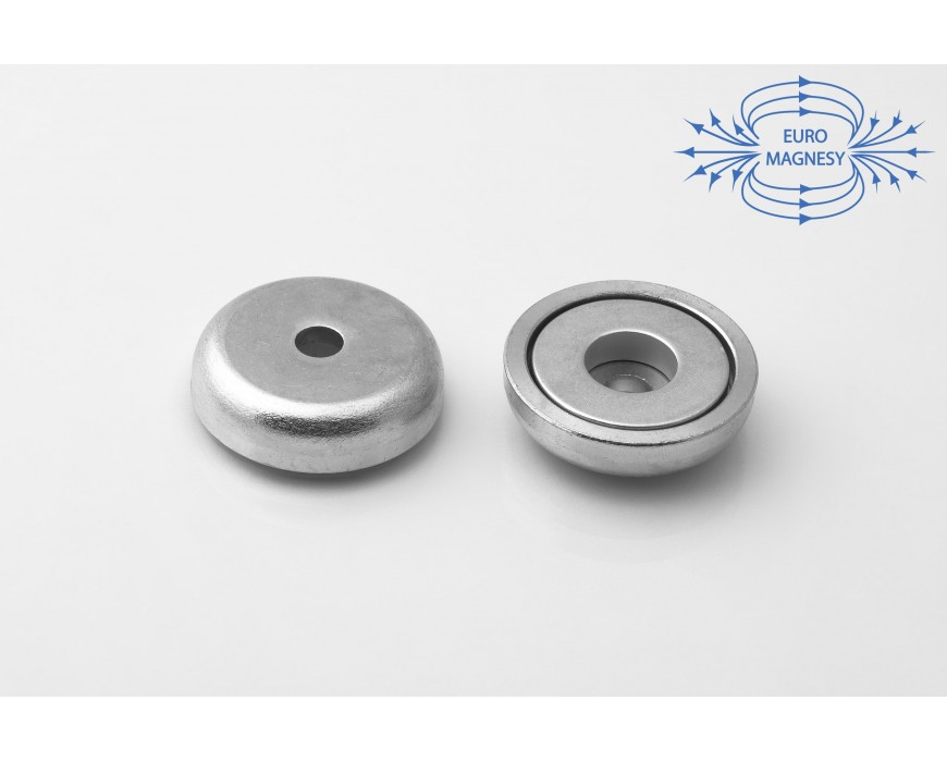 Pot magnets with cylindrical borehole screw-on
