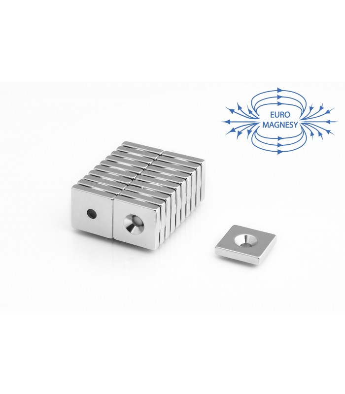 Neodymium block magnets with counterbore