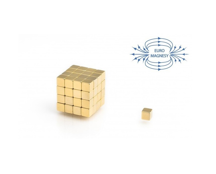Neodymium block magnets gold plated